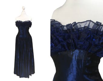 Midnight Blue Laura Ashley Dress | Vintage Evening Dress | Blue Laura Ashley Gown | Sleeveless | Ruffle Neckline | Prom Dress XS