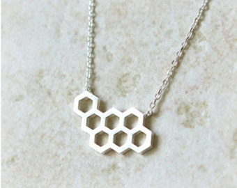 beehive necklace, honeycomb, honeycomb necklace, honeycomb jewelry, silver beehive necklace, geometric necklace, bridesmaid necklace