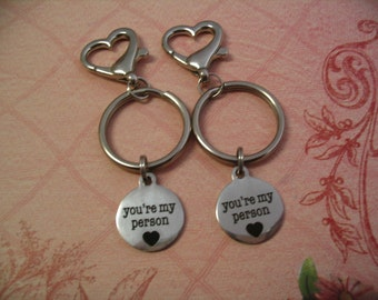 2 Youre My Person Keychains Friends or Sisters Purse Charms Accessories Gift