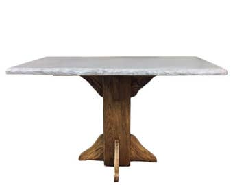 Concrete Dining Table with Walnut Pedestal