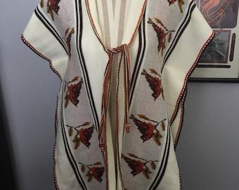 Southwestern woven poncho