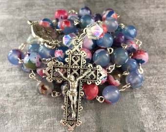Pink and Blue Rosary, Pink Rosary, Blue Rosary, Colorful Rosary, Agate Rosary, Catholic Rosary, Handmade Rosary, Free Shipping!