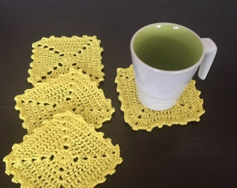 4 Yellow Crochet Coasters, Handmade Drink Coasters, Table protectors, Drink place mats