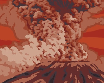 Mount St. Helens - Eruption View (Art Prints available in multiple sizes)