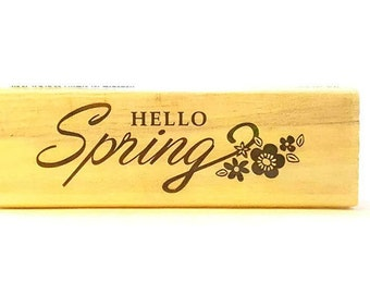 Stamp - Hello Spring Cursive and Flowers Stamp