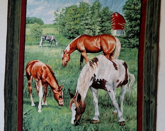 Beautiful and Peaceful Pasture Horses Finished Baby Quilt/ Wall Hanging 36x44