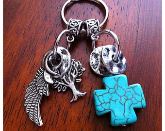 Christian Keychain, Cowgirl Keychain, Keychain,Turquoise Cross Keychain, Cross Key Chain with Angel Wings Charm