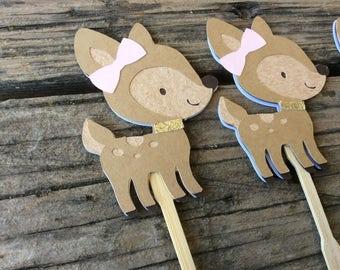 Woodland Fawn Party Cupcake Toppers - Baby Shower, Birthday Party, Fox Party, Party Decorations