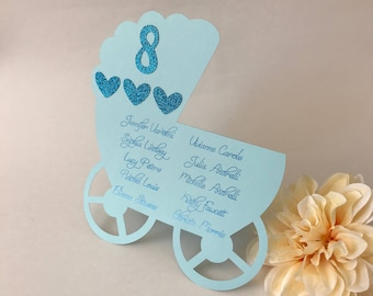 Baby Shower Seating Chart, Baby Shower Place Cards, Custom Baby Shower Place Cards, Baby Shower Stroller Seating Chart