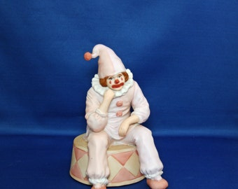Vintage Enesco Sad Clown Music Box plays Send in the Clowns dated 1983 made in Korea Figure Figurine