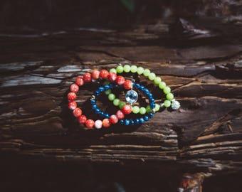 Bright colored beaded bracelet set
