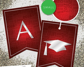 Small Red & Silver 2018 Printable Banner     All Letters 0-9 numbers     Graduation, Birthday, Congratulations, Anniversary
