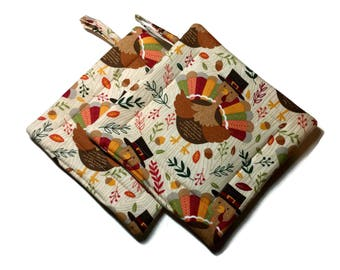 Handmade Quilted Pot Holders set of 2 Thanksgiving Tom Turkey Autumn Potholders