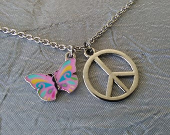 Butterfly Peace Sign Necklace