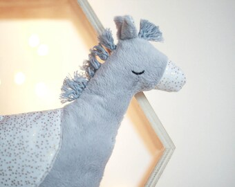 Stuffed Plush Pony gray white with gold dots