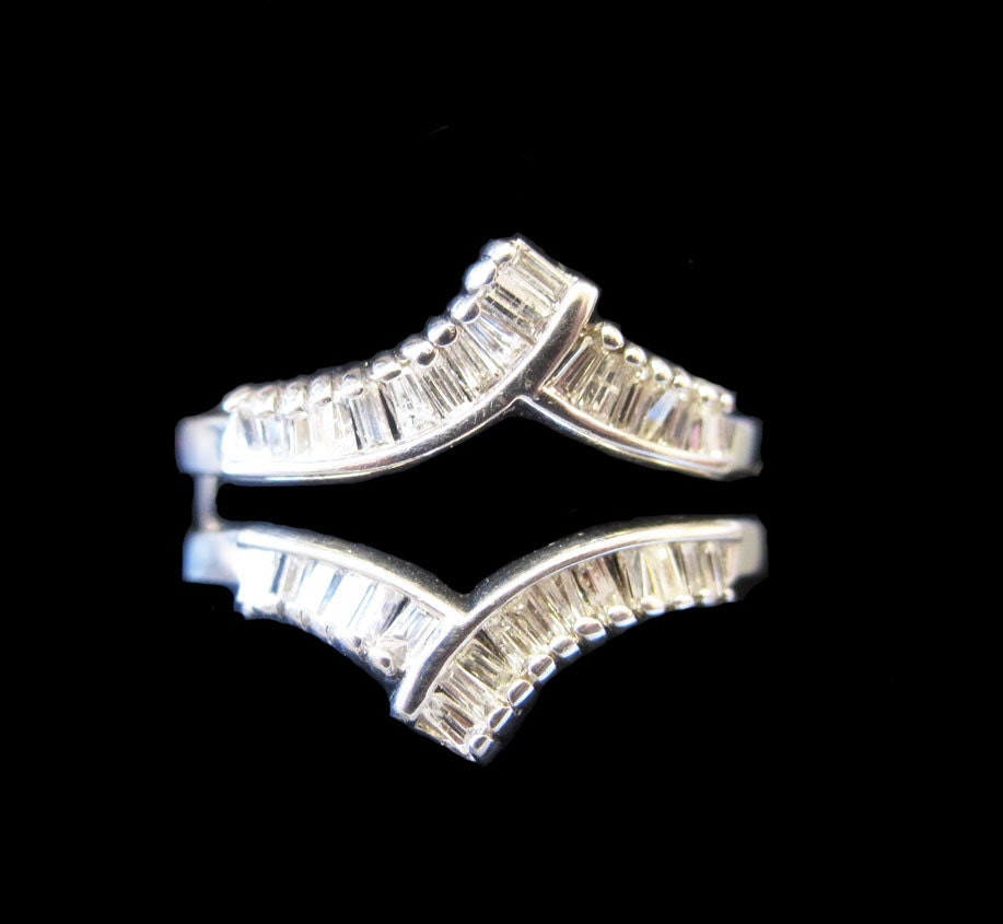 14 Gold Diamond Baguette Solitaire Ring Enhancer Ring Wrap