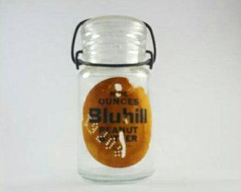 Vintage Bluhill Glass Peanut Butter Jar from Denver, Colorado 1961