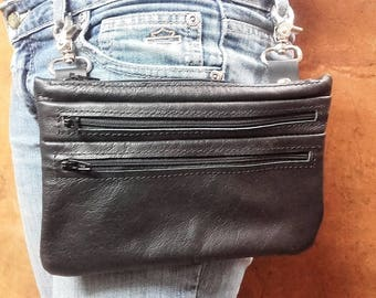 Real leather pouch with mochettoni 3 pockets, leather pouch, model ZIPPER 001 JV made in Italy