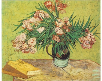 Hand-cut wooden jigsaw puzzle. OLEANDERS IN VASE. Van Gogh. Impressionist. Impressionism. Wood, collectible. Bella Puzzles.