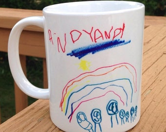 Personalized Child's Drawing on a Coffee Mug - Original Children's Art Everlasting Keepsake - Kids Artwork Keepsake