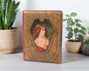 Antique Photo Album - Vintage Photo Art Book With Female Painting Photo on Front - Elegant Red Velvet Book Binding Photography Album
