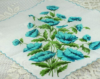 Vintage Hankie Turquoise Flowers on White #D32