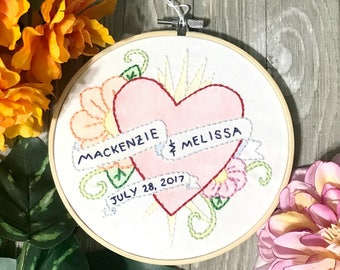 Tattoo Style Hand Embroidered Wedding Art - Couples Name Wedding Date Wall Art - Wedding Gift