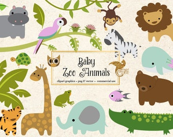 Baby Zoo Animals Clipart - PNG and Vector Clip art Set - Jungle Forest Animals Clipart, African Animals, cute baby animal embellishments