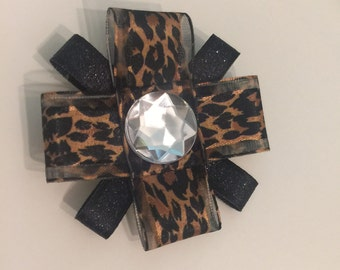 Leopard & Black Glitter Ribbon Flower Bow
