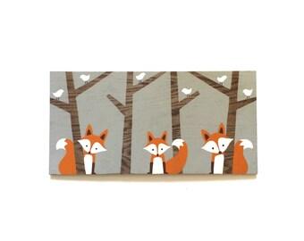 Woodland Nursery Decor - Wood Wall Art - Fox Nursery Art - Kids Wall Art - Nursery Wall Art - Fox Art - Fox Nursery Decor - Fox Painting