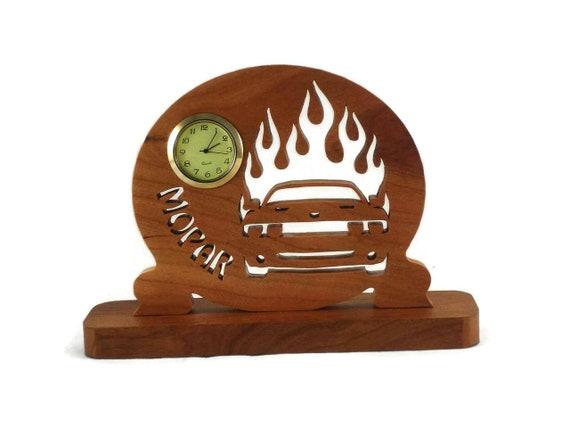 Dodge Challenger Desk Clock Handmade From Cherry Wood Mopar, Muscle Car, Hemi, SRT-8 Challenger, Helcat