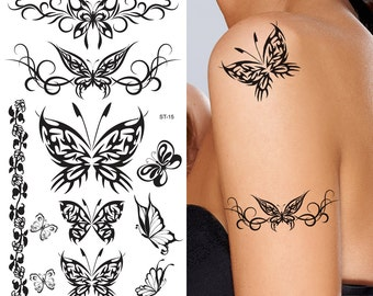 Supperb® Temporary Tattoos - Black Tribal Butterflies