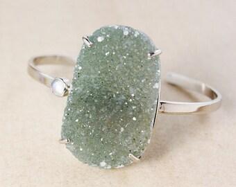 Natural Green Druzy Bangle – Rainbow Moonstone – Sterling Silver
