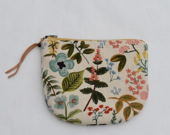 Herb Garden Natural Padded Round Zipper Pouch / Coin Purse / Gadget / Cosmetic Bag - READY TO SHIP