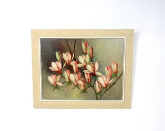 Large vintage framed Magnolia flowers painting mid century art signed Beck about 1950