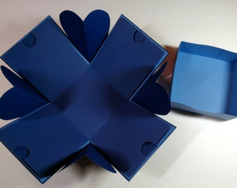 "Explosion Box, Sing the Blues Exploding Box, Explosion Box with Hearts Corners, 4"" cube"