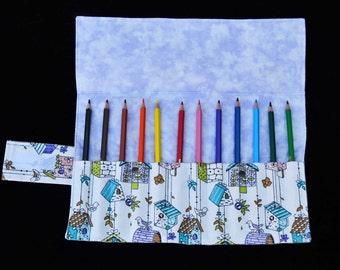 Birdhouse 'Ramsay' Pencil Roll, Handmade pencil roll, fabric pencil roll