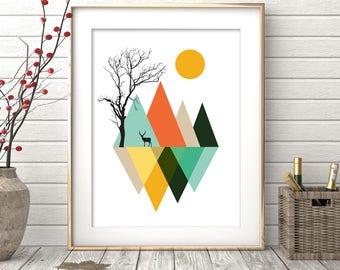 Geometric Print, Minimalist Abstract Art, Mountains Print, Nordic design, Abstract Art, Abstract Poster, Wall Art Prints, Instant Download