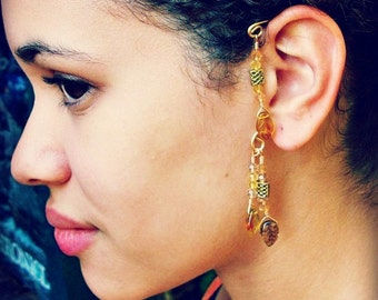 Fantasy Elemental Ear Cuff  Autumn Gold