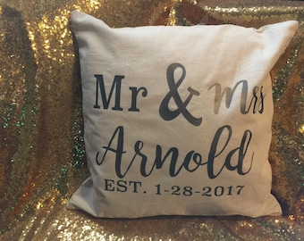 Mr & Mrs Throw Pillow Cover  **free shipping!**