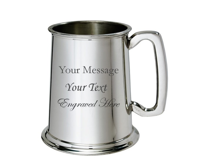 Personalised Pewter Tankard Customised Gift Engraved Present Engraved Message