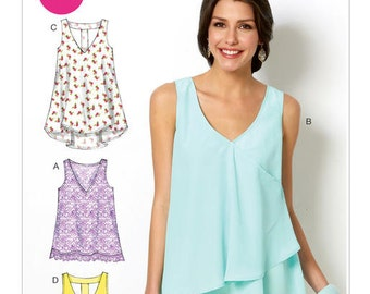 McCall's Pattern M6960 Misses' V-Neck Tops and Tunics