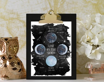 Lunar Phase Printable, Moon Phase Poster, Lunar Cycle, Moon Print Watercolor, Lunar Phase Poster, Astrology Art, Lunar Phases Chart