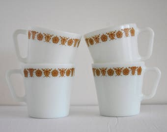 1970's Butterfly Gold Pyrex Coffee Cups - D Handle - Set of 4 - Made In USA