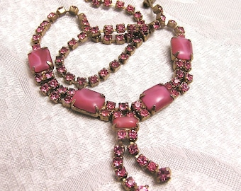 Vintage Pink Givre and Rhinestone Necklace. J95