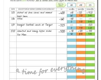 Printable budget sheet for kids