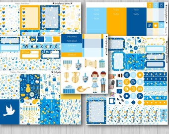 Happy Hanukkah Vertical Weekly Planner Sticker Kit