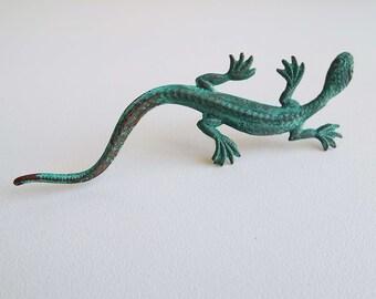 Vintage 1950's Gecko Salamander Lizard Metal Brooch Pin  Rockabilly Reptile Brooch