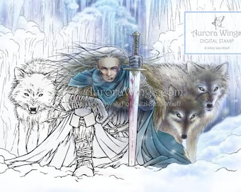 Digital Stamp Instant Download - Warrior and His Pack of Wolves - Tempest of Ice - digistamp - Fantasy Line Art for Cards & Crafts