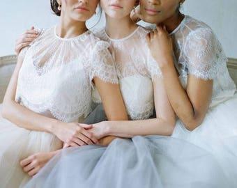 White tulle bride skirt, boho bride skirt, floor length wedding skirt, bridesmaid, crop top bride dress, separate bride dress,